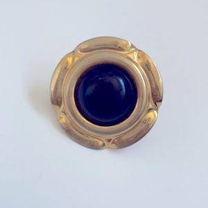 Vintage Large Black Stone Gold Ring